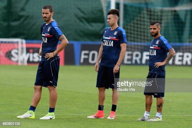 Leonardo Bonucci El Shaarawy and Lorenzo Insigne of Italy look on during the training session at Coverciano at Coverciano on June 05 2017 in Florence...