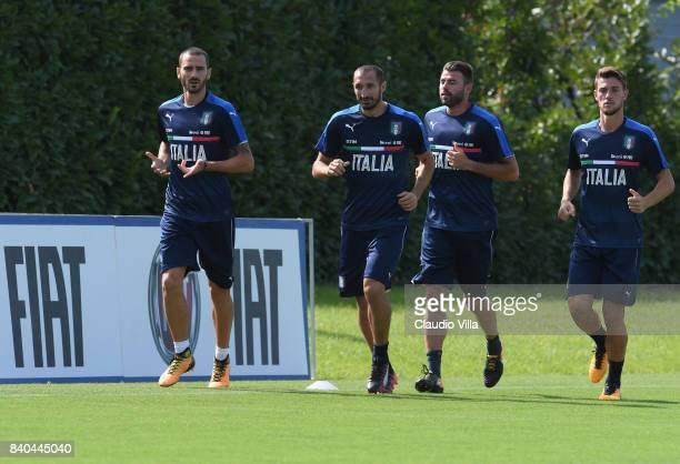 Leonardo Bonucci Giorgio Chiellini Andrea Barzagli Daniele Rugani of Italy in action during the traning session at Coverciano on August 29 2017 in...