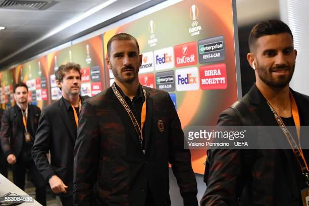 Leonardo Bonucci of AC Milan arrives at his dressing room ahead the UEFA Europa League group D match between AC Milan and AEK Athens on October 19...
