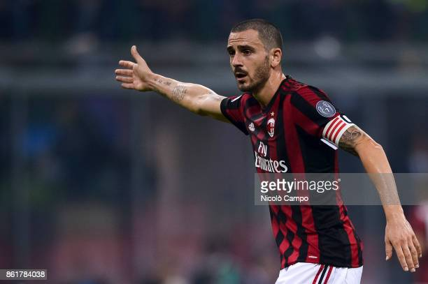 Leonardo Bonucci of AC Milan gestures during the Serie A football match between FC Internazionale and AC Milan FC Internazionale wins 32 over AC Milan