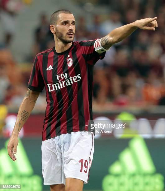 Leonardo Bonucci of AC Milan gestures during the UEFA Europa League Qualifying PlayOffs round first leg match between AC Milan and KF Shkendija 79 at...