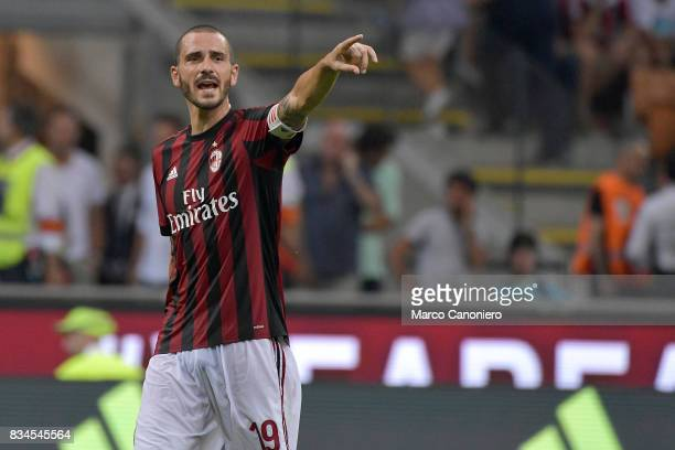 Leonardo Bonucci of AC Milan gestures during the UEFA Europa League Qualifying PlayOffs round first leg match between AC Milan and KF Shkendija AC...