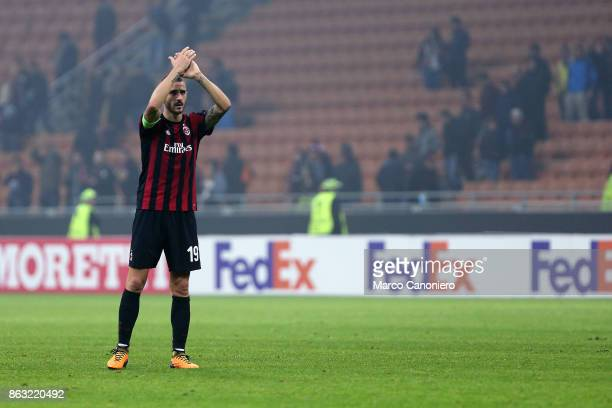 Leonardo Bonucci of Ac Milan greet the fans at the end of the UEFA Europa League group D football match between AC Milan and AEK Athens