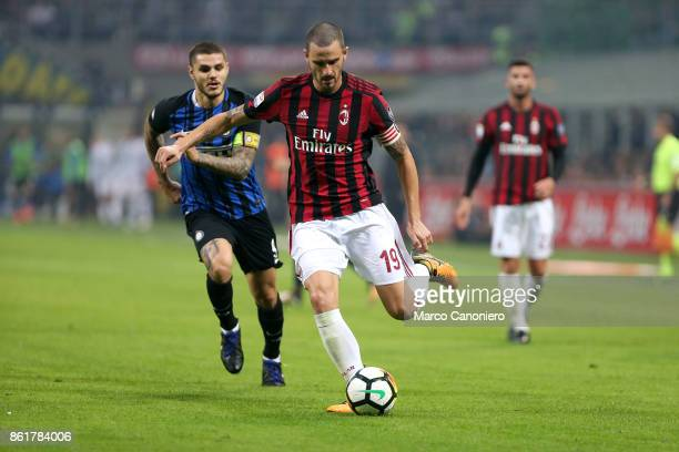 Leonardo Bonucci of Ac Milan in action during the Serie A football match between FC Internazionale and AC Milan Fc Internazionale wins 32 over Ac...