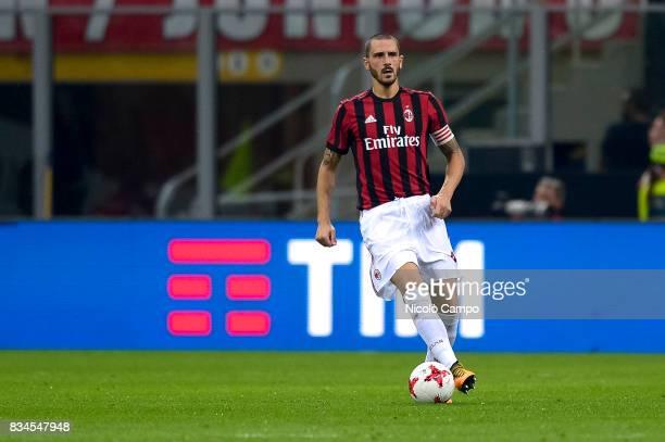 Leonardo Bonucci of AC Milan in action during the UEFA Europa League Qualifying PlayOffs Round First Leg match between AC Milan and KF Shkendija AC...