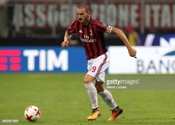 Leonardo Bonucci of AC Milan in action during the UEFA Europa League Qualifying PlayOffs round first leg match between AC Milan and KF Shkendija 79...