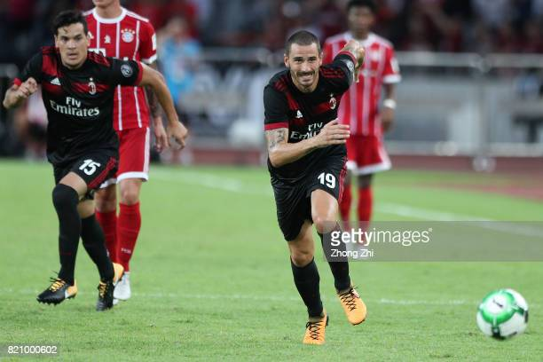 Leonardo Bonucci of AC Milan in action with team mate Gustavo Gomez during the 2017 International Champions Cup football match between AC Milan and...