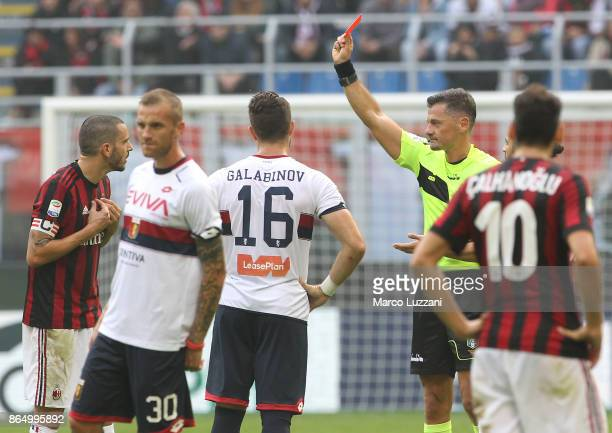 Leonardo Bonucci of AC Milan is shown a red card by Referee Piero Giacomelli after advice from the VAR during the Serie A match between AC Milan and...