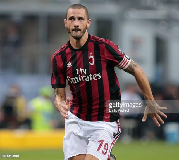 Leonardo Bonucci of AC Milan looks on during the UEFA Europa League Qualifying PlayOffs round first leg match between AC Milan and KF Shkendija 79 at...