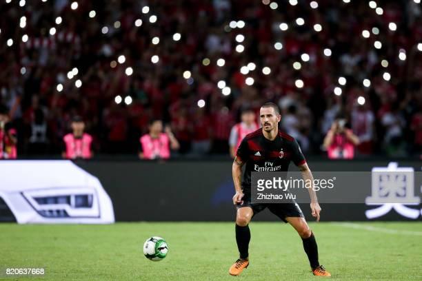 Leonardo Bonucci of AC Milan of AC Milan controls the ball during the 2017 International Champions Cup China match between FC Bayern and AC Milan at...