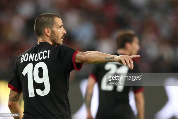 Leonardo Bonucci of AC Milan reacts during the 2017 International Champions Cup football match between AC Milan and FC Bayern Muenchen on July 22...