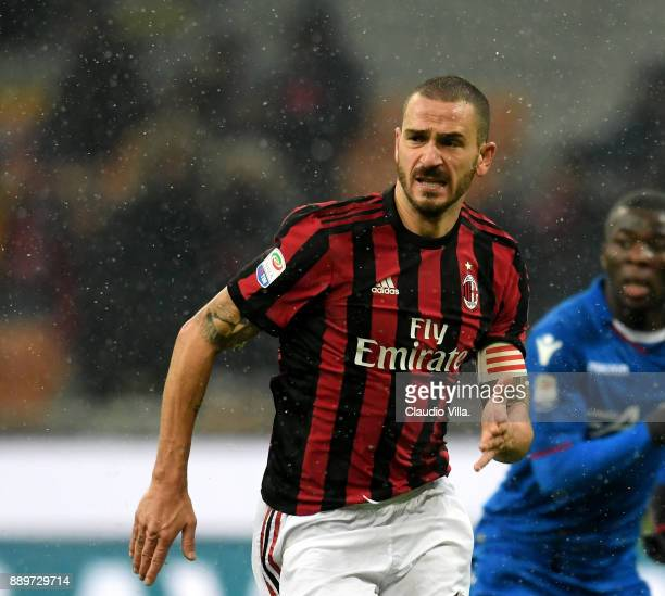 Leonardo Bonucci of AC Milan reacts during the Serie A match between AC Milan and Bologna FC at Stadio Giuseppe Meazza on December 10 2017 in Milan...
