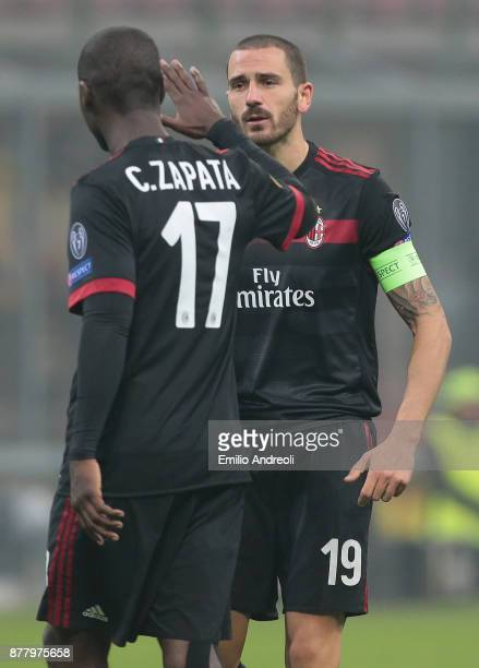 Leonardo Bonucci of AC Milan speaks with his teammate Cristian Zapata during the UEFA Europa League group D match between AC Milan and Austria Wien...