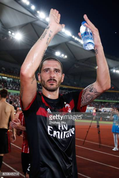 Leonardo Bonucci of AC Milan thanks to fans after the 2017 International Champions Cup China match between FC Bayern and AC Milan at Universiade...