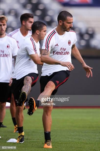 Leonardo Bonucci of AC Milan training at Universiade Sports Centre Stadium on July 21 2017 in Shenzhen China