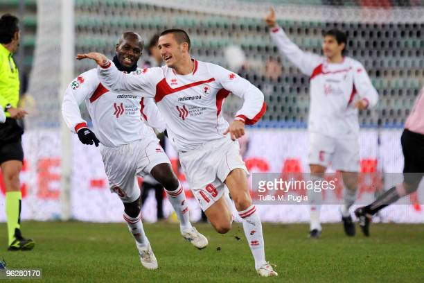 Leonardo Bonucci of Bari celebrates the opening goal uring the Serie A match between Bari and Palermo at Stadio San Nicola on January 30 2010 in Bari...