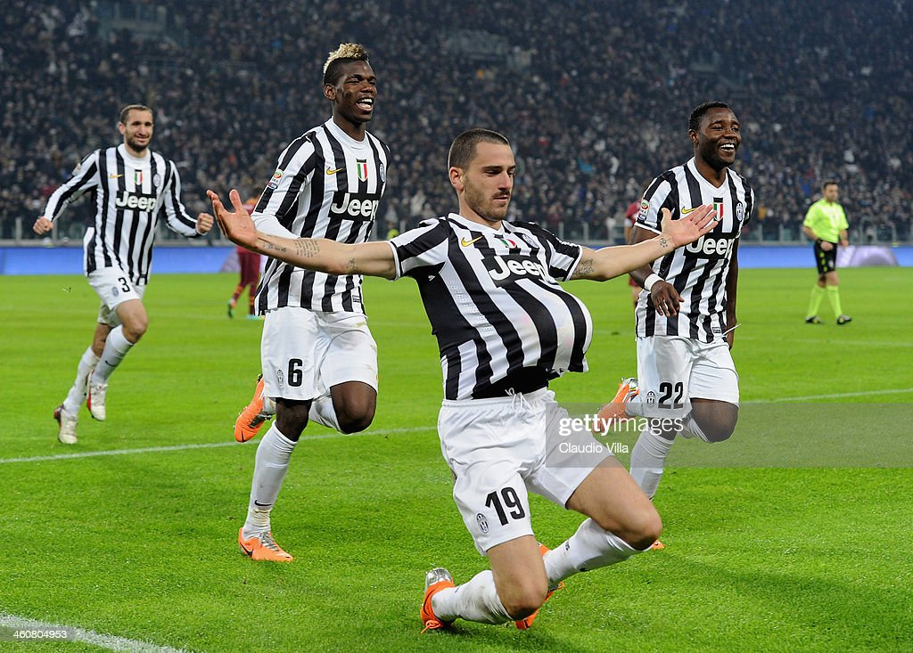 <a gi-track='captionPersonalityLinkClicked' href=/galleries/search?phrase=Leonardo+Bonucci&family=editorial&specificpeople=6166090 ng-click='$event.stopPropagation()'>Leonardo Bonucci</a> of FC Juventus (C) celebrates scoring the second goal during the Serie A match between Juventus and AS Roma at Juventus Arena on January 5, 2014 in Turin, Italy.