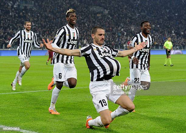 Leonardo Bonucci of FC Juventus celebrates scoring the second goal during the Serie A match between Juventus and AS Roma at Juventus Arena on January...