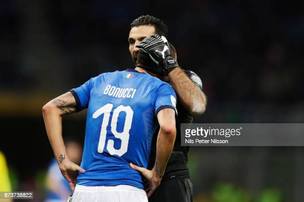 Leonardo Bonucci of Italy and Gianluigi Buffon goalkeeper of Italy during the FIFA 2018 World Cup Qualifier PlayOff Second Leg between Italy and...
