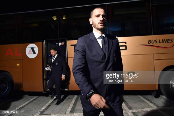 Leonardo Bonucci of Italy arrives before the FIFA 2018 World Cup Qualifier between Albania and Italy at Loro Borici Stadium on October 9 2017 in...