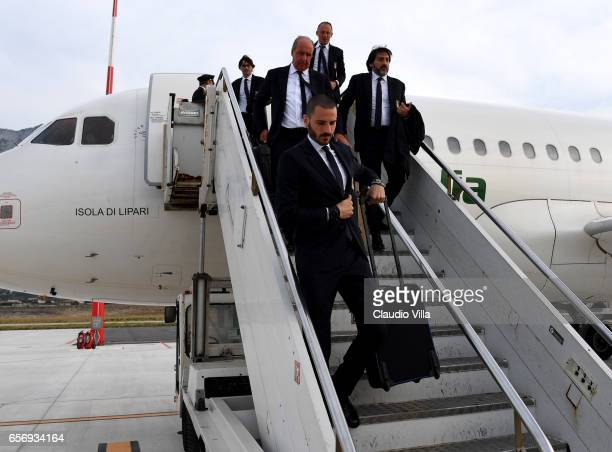 Leonardo Bonucci of Italy arrives to Palermo on March 23 2017 in Palermo Italy
