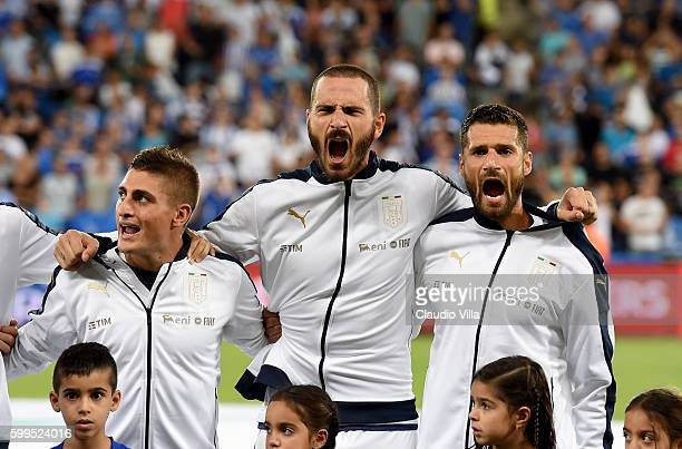 Leonardo Bonucci of Italy attend during the FIFA 2018 World Cup Qualifier between Israel and Italy at Itztadion Sammy Ofer on September 5 2016 in...