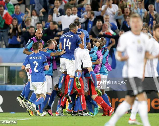 Leonardo Bonucci of Italy celebrate his goal during the UEFA EURO 2016 quarter final match between Germany and Italy at Stade Matmut Atlantique on...