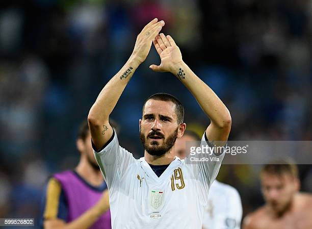 Leonardo Bonucci of Italy celebrates at the end of the FIFA 2018 World Cup Qualifier between Israel and Italy at Itztadion Sammy Ofer on September 5...