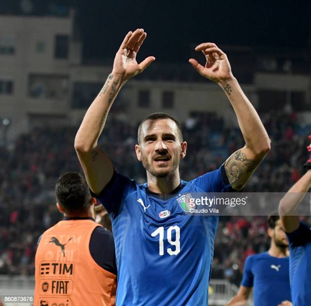 Leonardo Bonucci of Italy celebrates at the end of the FIFA 2018 World Cup Qualifier between Albania and Italy at Loro Borici Stadium on October 9...