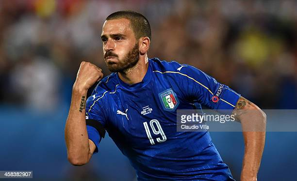 Leonardo Bonucci of Italy celebrates scoring his team's first goal from the penalty spot during the UEFA EURO 2016 quarter final match between...