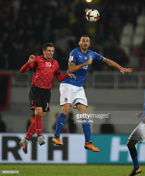 Leonardo Bonucci of Italy competes for the ball with Liridon Latifi of Albania during the FIFA 2018 World Cup Qualifier between Albania and Italy at...