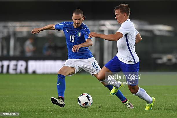 Leonardo Bonucci of Italy competes with Robin Lod of Finland during the international friendly match between Italy and Finland on June 6 2016 in...