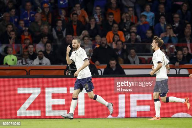 Leonardo Bonucci of Italy Daniele Rugani of Italyduring the friendly match between Netherlands and Italy at the Amsterdam Arena on March 28 2017 in...