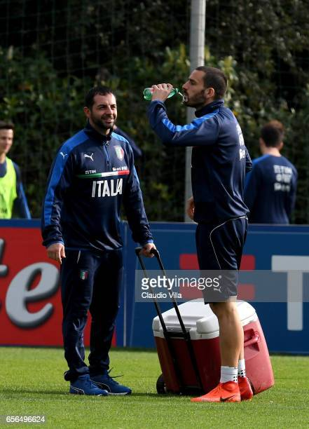 Leonardo Bonucci of Italy drinks during the training session at the club's training ground at Coverciano on March 22 2017 in Florence Italy