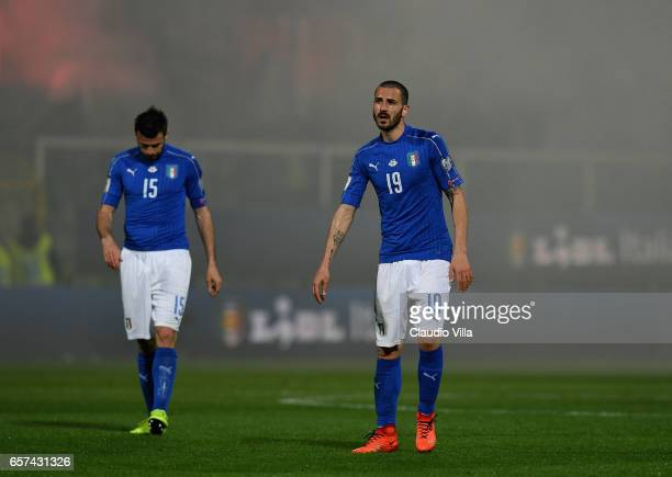 Leonardo Bonucci of Italy during the FIFA 2018 World Cup Qualifier between Italy and Albania at Stadio Renzo Barbera on March 24 2017 in Palermo