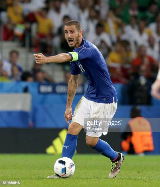 Leonardo Bonucci of Italy gestures during the UEFA Euro 2016 Group E match between Italy and Republic of Ireland at Stade PierreMauroy on June 22...