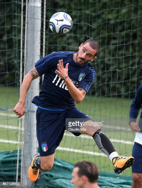 Leonardo Bonucci of Italy in action during a training session at Italy club's training ground at Coverciano on October 3 2017 in Florence Italy