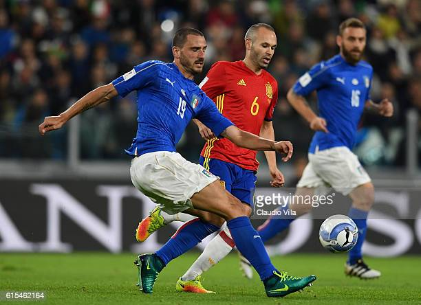 Leonardo Bonucci of Italy in action during the FIFA 2018 World Cup Qualifier between Italy and Spain at Juventus Stadium on October 6 2016 in Turin...