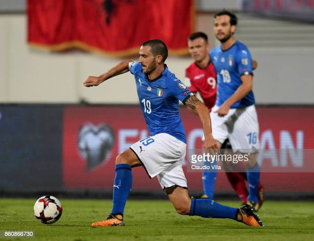 Leonardo Bonucci of Italy in action during the FIFA 2018 World Cup Qualifier between Albania and Italy at Loro Borici Stadium on October 9 2017 in...
