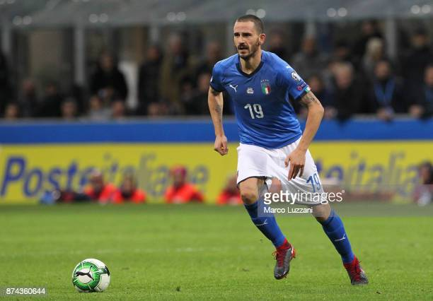 Leonardo Bonucci of Italy in action during the FIFA 2018 World Cup Qualifier PlayOff Second Leg between Italy and Sweden at San Siro Stadium on...