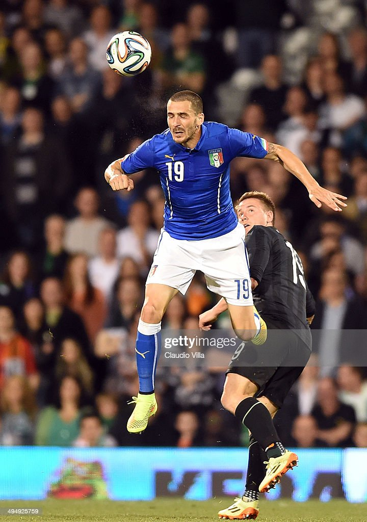 Leonardo Bonucci of Italy in action during the International Friendly match between Italy and Ireland at Craven Cottage on May 30, 2014 in London, England.