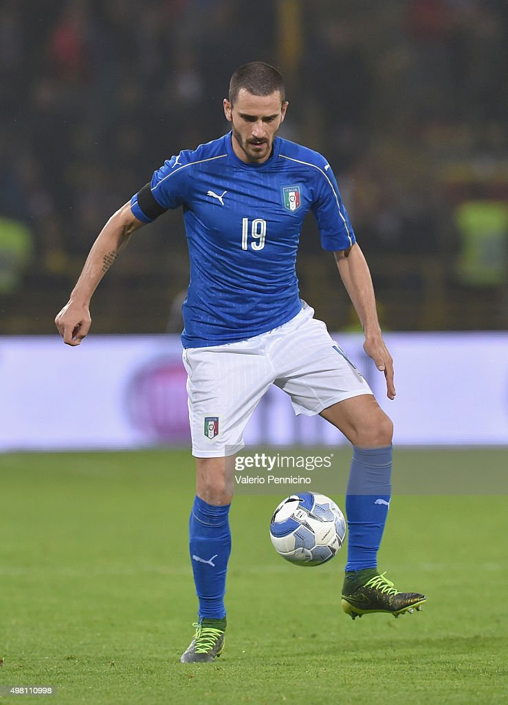 Leonardo Bonucci of Italy in action during the international friendly match between Italy and Romania at Stadio Renato Dall'Ara on November 17, 2015 in Bologna, Italy.
