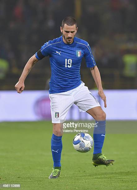 Leonardo Bonucci of Italy in action during the international friendly match between Italy and Romania at Stadio Renato Dall'Ara on November 17 2015...