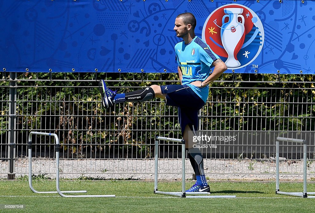 <a gi-track='captionPersonalityLinkClicked' href=/galleries/search?phrase=Leonardo+Bonucci&family=editorial&specificpeople=6166090 ng-click='$event.stopPropagation()'>Leonardo Bonucci</a> of Italy in action during the training session at 'Bernard Gasset' Training Center on June 28, 2016 in Montpellier, France.