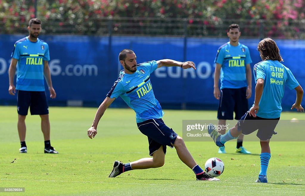 <a gi-track='captionPersonalityLinkClicked' href=/galleries/search?phrase=Leonardo+Bonucci&family=editorial&specificpeople=6166090 ng-click='$event.stopPropagation()'>Leonardo Bonucci</a> of Italy in action during the training session at 'Bernard Gasset' Training Center on June 29, 2016 in Montpellier, France.
