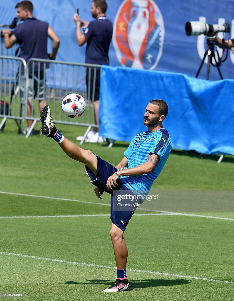 <a gi-track='captionPersonalityLinkClicked' href=/galleries/search?phrase=Leonardo+Bonucci&family=editorial&specificpeople=6166090 ng-click='$event.stopPropagation()'>Leonardo Bonucci</a> of Italy in action during the training session at 'Bernard Gasset' Training Center on July 01, 2016 in Montpellier, France.