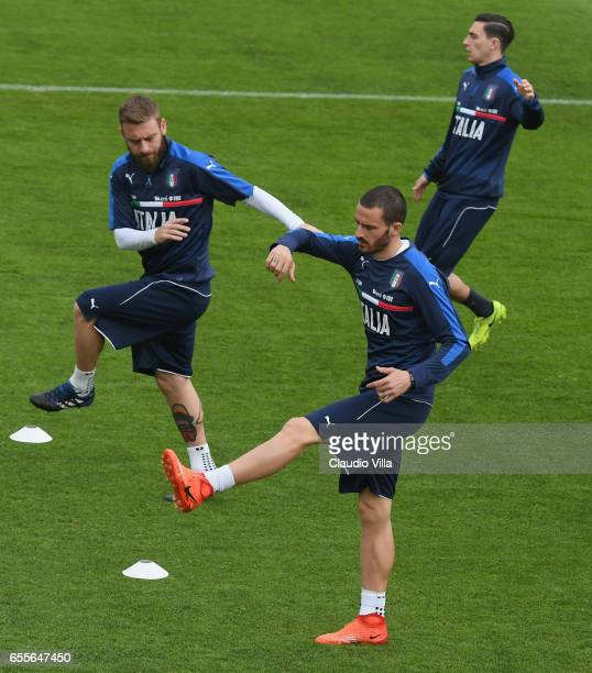 Leonardo Bonucci of Italy in action during the training session at the club's training ground at Coverciano on March 20 2017 in Florence Italy