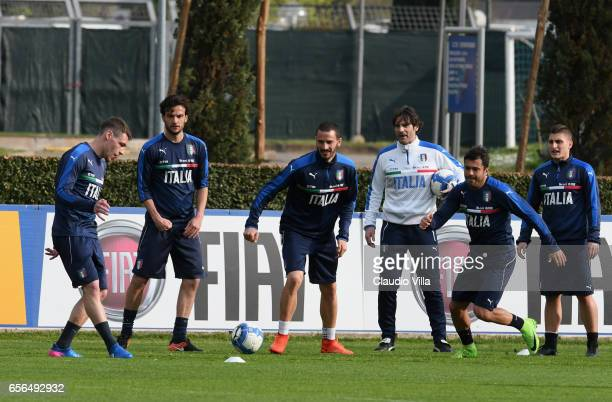 Leonardo Bonucci of Italy in action during the training session at the club's training ground at Coverciano on March 22 2017 in Florence Italy