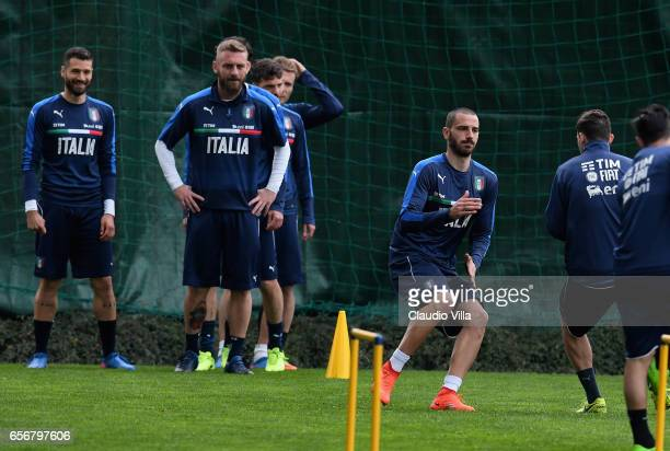 Leonardo Bonucci of Italy in action during the training session at the club's training ground at Coverciano on March 23 2017 in Florence Italy