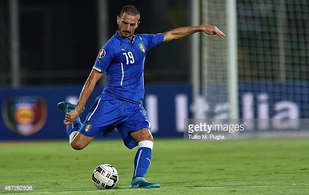 Leonardo Bonucci of Italy in action during the UEFA EURO 2016 Qualifier match between Italy and Bulgaria on September 6 2015 in Palermo Italy